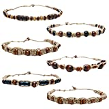 Set of 6 beautiful hemp cord necklaces for men and women. Braided with natural hemp string, white puka chips, and wood beads.