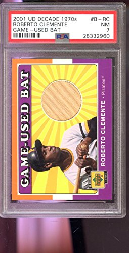 2001 Upper Deck UD Decade 1970s Roberto Clemente Game-Used Bat Graded Card 7 - PSA/DNA Certified - Baseball Game...