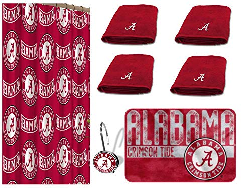 The Northwest Company NCAA Alabama Crimson Tide 18 Piece Bath Ensemble: Set Includes 1 Shower Curtain, 12 Shower Hooks, 2 Bath Towels, 2 Hand Towels, and 1 Bath -