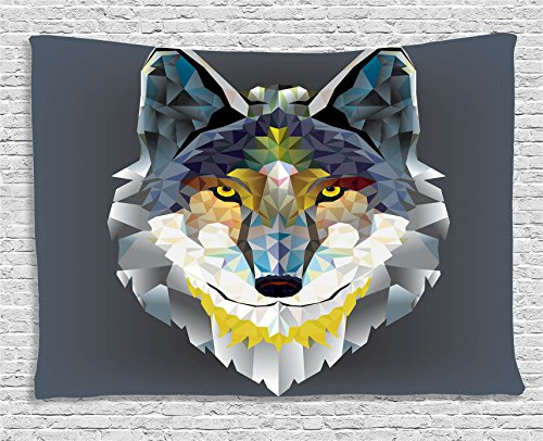 Colorful Zoo Decorations Tapestry Wall Hanging by Ambesonne, Artistic Graphic Design Coyote Wolf Beast , Bedroom Living Room Dorm Decor, 60 W X 40 L Inches