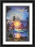 Beckoning Light 2x Matted 28x40 Large Black Ornate Framed Art Print by Christian Lassen