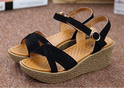 Xing Lin Ladies Sandals Slope With Sandals Shoes Summer New Comfortable Leather Casual Thick With Sandals In The End Black PgSYZ