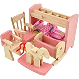 Soledi Delicate House Furniture Pink Wooden Dolls Toy Miniature Baby Nursery Room Crib Chair Bed Pretend Play Kids Children Gift
