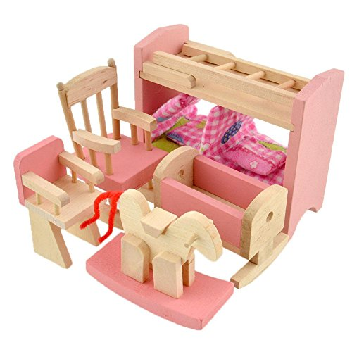 Soledi Delicate House Furniture Pink Wooden Dolls Toy Miniature Baby Nursery Room Crib Chair Bed Pretend Play Kids Children Gift - Big Doll Furniture