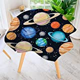 UHOO2018 Easy-Care Cloth Tablecloth Round-Galaxy Space Art Solar System with Planets Mars Mercury Uranus Jupiter Venus Kids Great for Buffet Table, Parties, Holiday Dinner & More 67'' Round