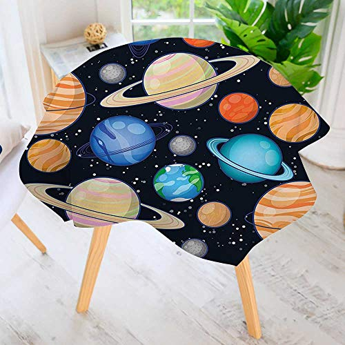 UHOO2018 Easy-Care Cloth Tablecloth Round-Galaxy Space Art Solar System with Planets Mars Mercury Uranus Jupiter Venus Kids Great for Buffet Table, Parties, Holiday Dinner & More 67'' Round by UHOO2018