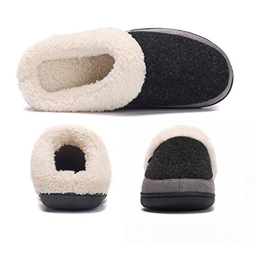 Fleece House Slipper Black Foam Memory Plush with Felt Women's Lining Upper UZn4q6n
