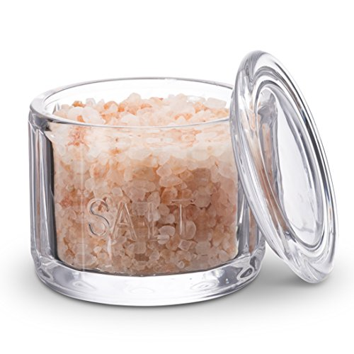 (KooK Round Pressed Clear Glass Salt Cellar with Lid)