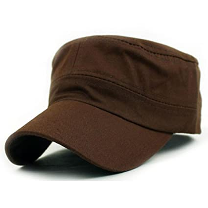 3157e1c31e9 Amazon.com  Botrong Classic Plain Vintage Army Military Cadet Style Cotton Cap  Hat Adjustable (Coffee)  Cell Phones   Accessories