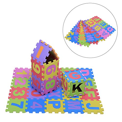 GLOGLOW 36Pcs Infant Soft EVA Foam Play Puzzle Mat Numbers & Letters Baby Children Kids Playing Crawling Non-Toxic Pad ()