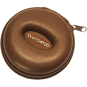 WATCHPOD Travel Watch Case, Single Watch Box w/Zipper for Storage, Cushioned Round and Portable, Fits all Wristwatches…
