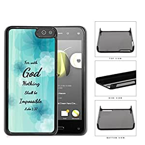 Luke 1:37 Bible Verse Light Blue Pastel Background with White/Blue Flowers Amazon Fire Hard Snap on Plastic Cell Phone Case Cover by lolosakes