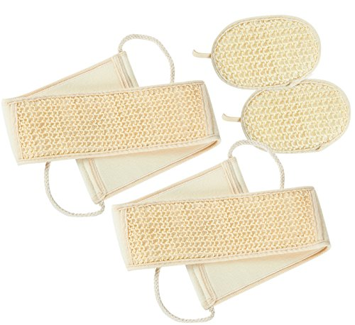 4-Piece Set Sisal Back Scrubber Strap and Exfoliate Pad, 2 of Each - Bath and Shower Body Exfoliator Kit