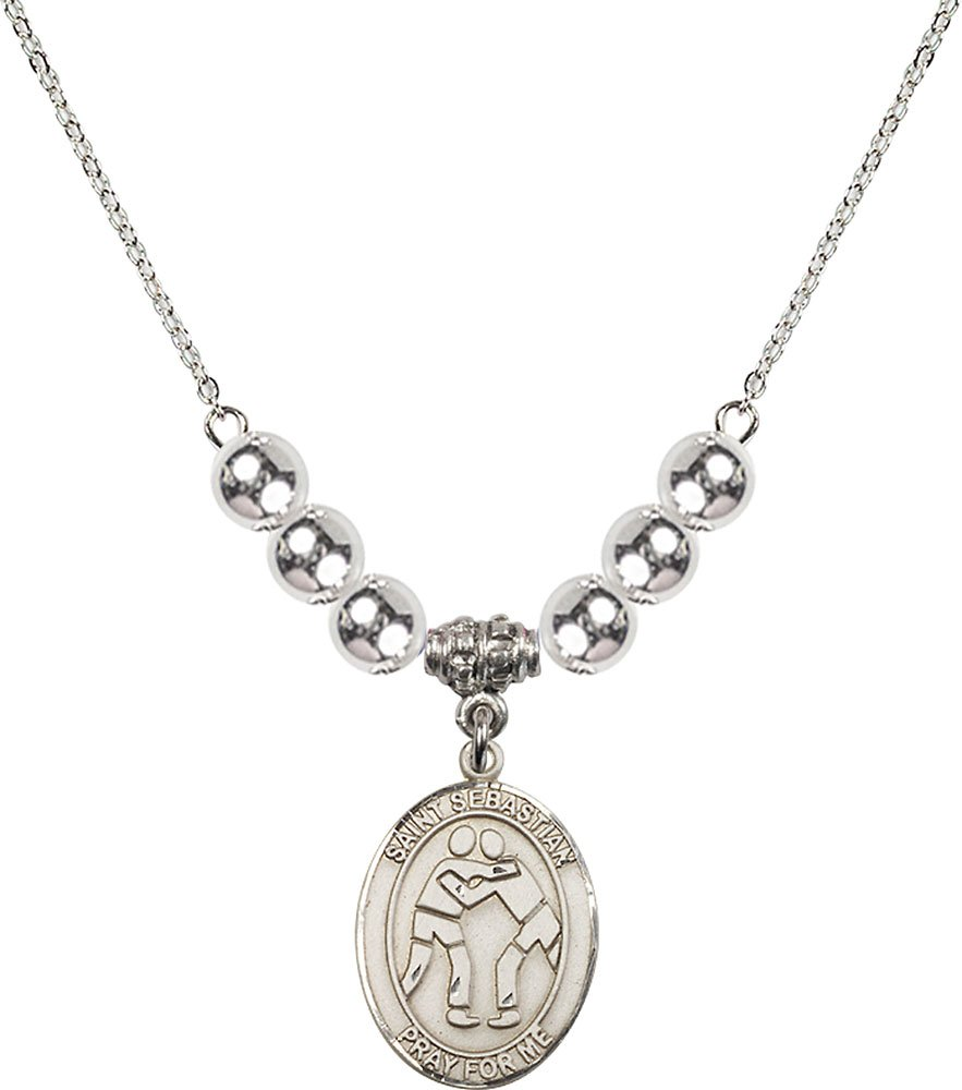 Rhodium Plated Necklace with 6mm Sterling Silver Beads & Saint Sebastian/Wrestling Charm. by F A Dumont