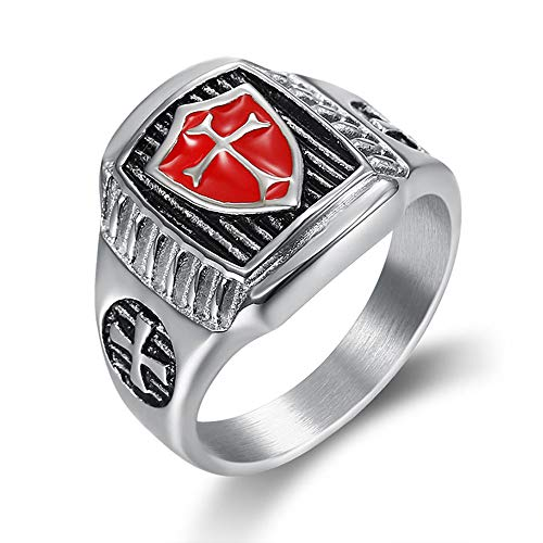 (LAFATINA Knights Templar Cross Shield Biker Ring for Men, Stainless Steel Red Armor Cross Medieval Retro Vintage Signet Ring)