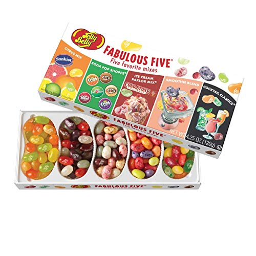 Jelly Belly Fabulous Five Jelly Beans Gift Box, 5 Assorted Flavor Mixes, 4.25-oz ()