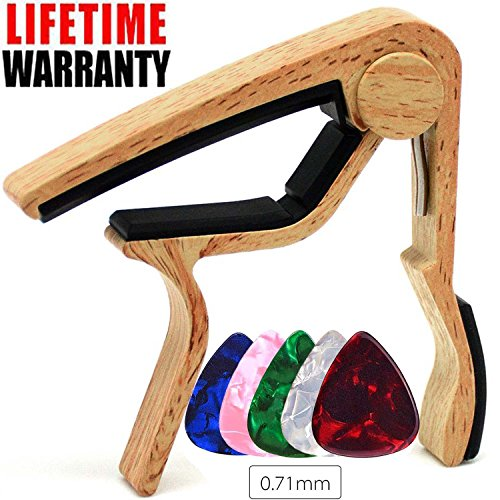 WINGO Guitar Capo for Acoustic and Electric Guitar with 5 Picks, Burlywood from WINGO