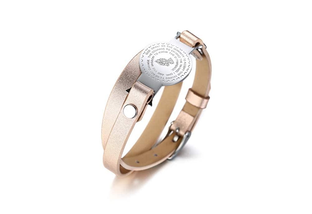 MPRAINBOW Stainless Steel Religious English Hand Prayer Two Layers Leather Bracelet Champagne Color