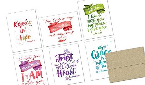 Watercolor Scripture - 36 Note Cards - Blank Cards - Kraft Envelopes (Blank Bible)