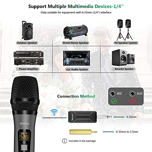 Bietrun UHF Handheld Dynamic Microphone Wireless Mic System Set with Rechargeable Receiver, 260ft Range, 1/4'' Plug, for Karaoke, Voice Amplifier, PA , Singing Machine, Church