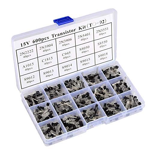 - QLOUNI 600pcs 15 Value TO-92 2N2222-S9018 NPN PNP Power Transistor Assortment Kit with Plastic Box & Label