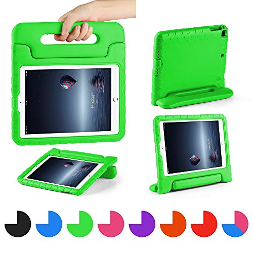 CAM-ULATA Compatible with 2018 2017 New iPad Case 9.7 inch for Kids Folio Shockproof Corner Protection Lightweight Cover for iPad Air iPad Air2 Kid Proof Green