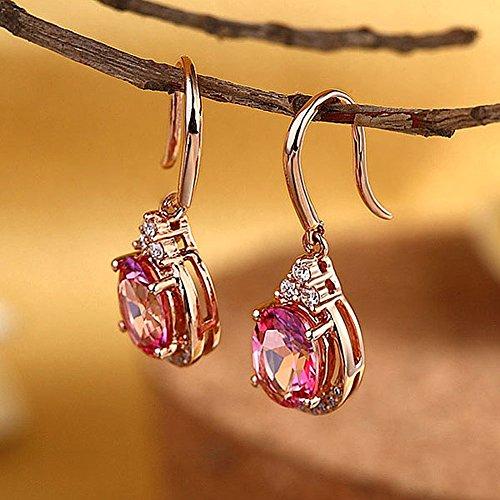 14K Or Rose Dangle 1,6CT Rose Naturel-Boucles d'Oreilles Topaze-0,185CT Diamant de mariage