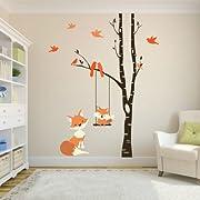 FOX Wall Decals Woodland Nursery 1 Tree Birch Nursery Vinyl Decor