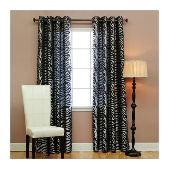 """Best Home Fashion Room Darkening Zebra Jacquard Print Curtains - Antique Bronze Grommet Top - Pink - 52"""" W x 84"""" L - (Set of 2 Panels) - Keep your home decor under wraps with these Zebra jacquard curtain. Zebra Print Grommet Curtains add a fun and playful touch to your home décor Hang with standard or decorative rod and brackets (not included) - living-room-soft-furnishings, living-room, draperies-curtains-shades - 51ksRCTPPdL. SS570  -"""