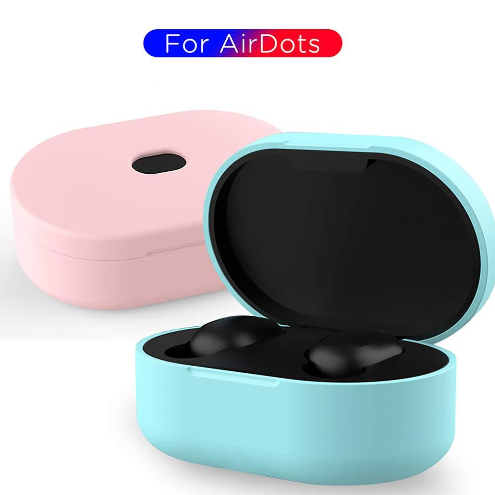 Azul Cubierta Protectora de Silicona Flexible Piel antichoque para Xiaomi Airdots Auriculares Bluetooth Auriculares inal/ámbricos Auriculares Caja de Carga HKEPS Estuche para Xiaomi Redmi Airdots