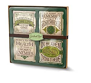 Irish Celtic Witty Sayings Message Cement Resin Drinkware Coaster Set of 4