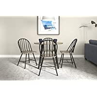 Novogratz Leo Farmhouse Set with Rustic, yet Contemporary Style, Table and Set of 4 Chairs