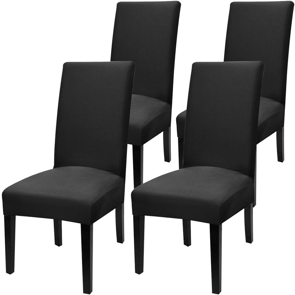 Fuloon Super Fit Stretch Removable Washable Short Dining Chair Protector Cover Seat Slipcover for Hotel,Dining Room,Ceremony,Banquet Wedding Party (4 Per Set, AA)