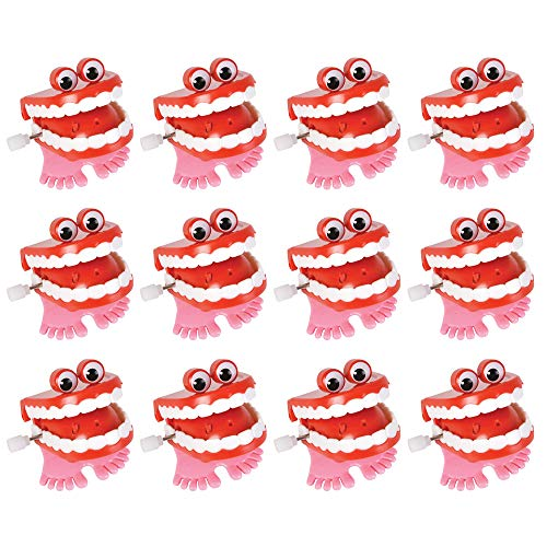 Kicko Wind-up Chatter Teeth with Eyes - Pack of 12, 1.75