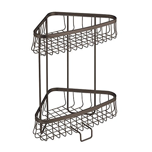 InterDesign York Lyra Free Standing Bathroom or Shower Corner Storage Shelves for Towels, Soap, Shampoo, Lotion, Accessories - 2 Tier, Bronze