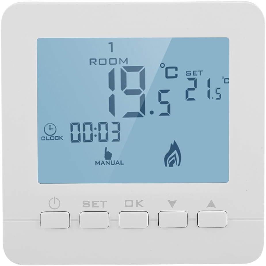 Fdit - Termostato digital inteligente con pantalla LCD, controlador de temperatura 5 A para calefacción de caldera, programable, versión con botón