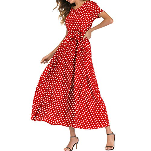Mikilon Women Casual Boho Summer Maxi Dresses Polka Dot Short Sleeve Swing Dress with Belt Red