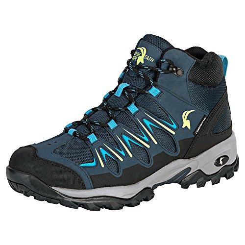 Mountain Guide Herren Outdoor Schuh Erongo Mid, blau/gelb, wasserdicht, atmungsaktiv