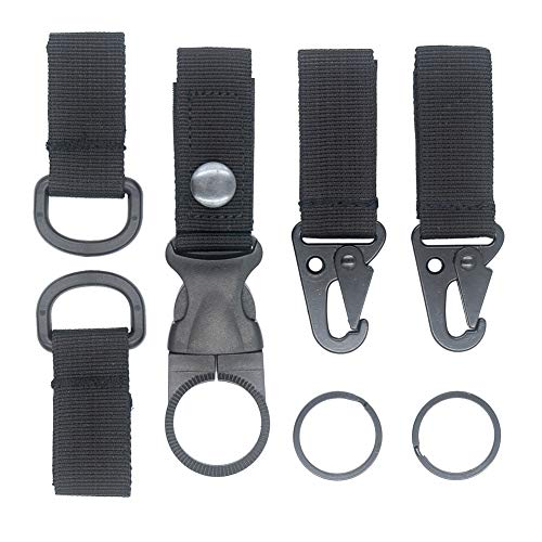 D-ring Key Holder - DGOL 5 in 1 Nylon Webbing Hook Clasp 2pcs + D Ring Clip 2pcs + Mineral Bottle Holder Clasp 1pcs Useful EDC Tactical Kit for Molle Webbing Belt Strap (Black)