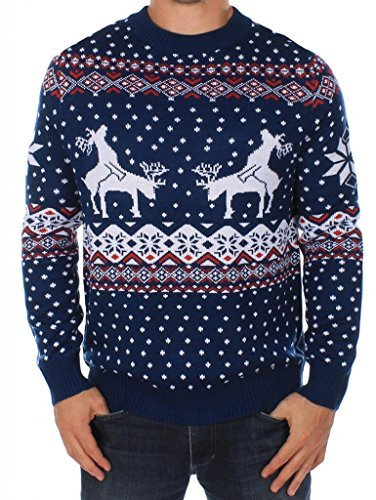 Tipsy Elves Men's Ugly Christmas Sweater - Reindeer Climax Tacky Christmas Sweater Blue Size L