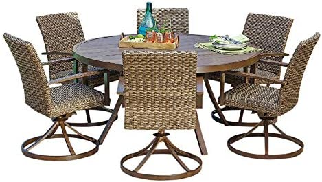 Amazon Com Agio Outdoor Patio Handwoven All Weather Wicker 8pc Dining Set W 60 Round Lazy Susan Table Garden Outdoor