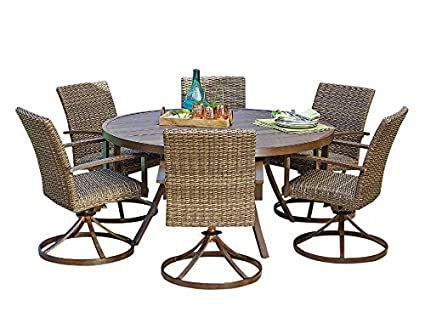 Outdoor Dining Set Round Table.Agio Outdoor Patio Handwoven All Weather Wicker 7pc Dining Set W 60 Round Table