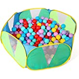 Truedays Kids Ball Pit Playpen for Toddlers, 39.4 inch with Storage Bag, Green,No Balls