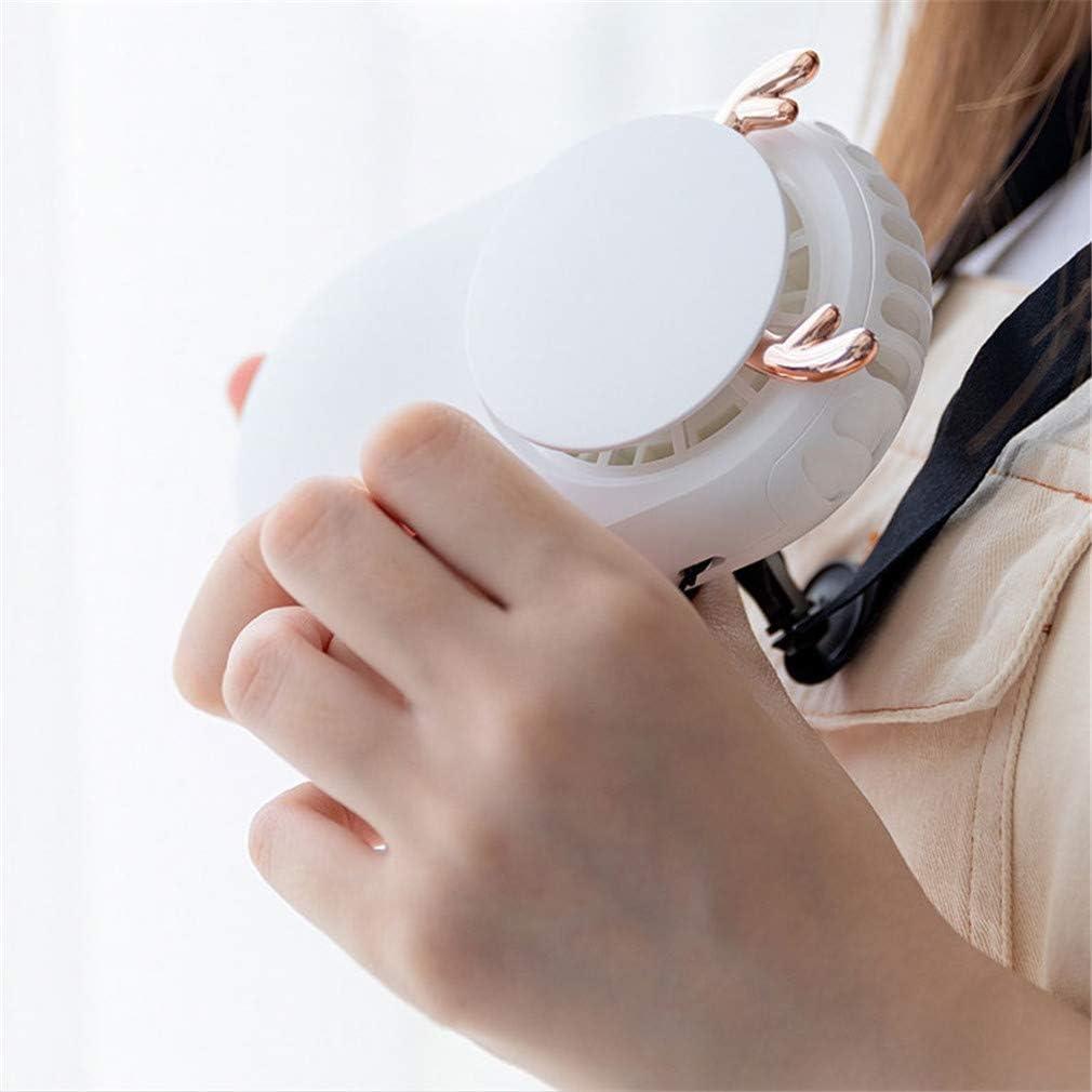 FLYFO Portatile Mini Ventilatore, All\'aperto Cartone Animato Sospeso Ventaglio al Collo Ventilatore Portatile Ricarica USB Ufficio Piccolo Fan Desktop Alunno Fan Silenzioso,F A
