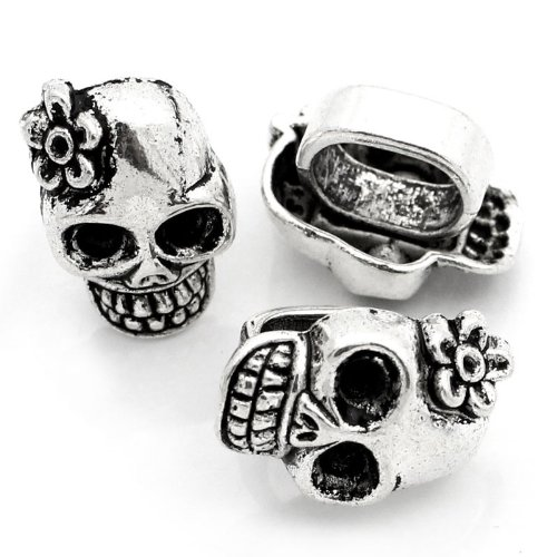 10pc Antiqued Silver Skull Beads Slider Charms Fits 10mm Bands [Office Product] ()