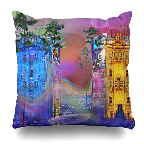 (Ahawoso Throw Pillow Cover Horizon Blue Misty Summer Night City in Abstract Watercolor Artistic Canvas Design Original Decorative Pillowcase Square Size 20