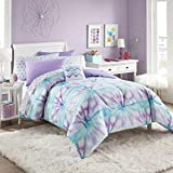 Turquoise and Purple Comforter Set Purple, Turquoise & White Tie-Dye Girls Full Comforter Set (8 Piece Bed in A Bag) + Homemade Wax Melts