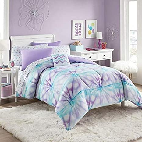 Purple, Turquoise & White Tie-Dye Girls Twin Comforter Set (6 Piece Bed in  A Bag) + Homemade Wax Melts