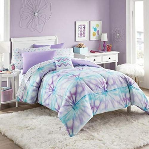 Purple, Turquoise & White Tie-Dye Girls Twin Comforter Set (6 Piece Bed in A Bag) + Homemade Wax Melts (Turquoise In Purple And A Bag Bed)