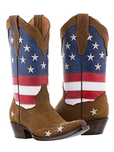 Texas Legacy - Women's Brown USA Flag Leather Cowgirl Boots 9 BM - Ladies American Flag Cowboy Boots